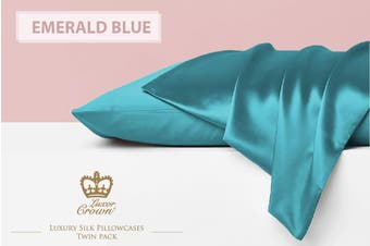 Two Mulberry Silk Pillowcases EMERALD BLUE