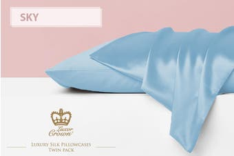 Two Mulberry Silk Pillowcases SKY BLUE