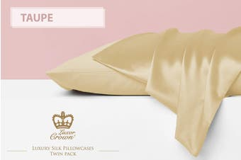Two Mulberry Silk Pillowcases TAUPE