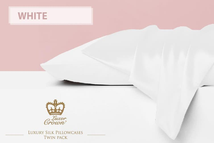 Two Mulberry Silk Pillowcases WHITE