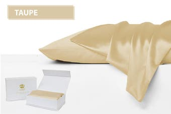 Luxor Crown Set of 2 Mulberry Silk Pillowcases TAUPE