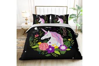 King Single Size My Unicorn Black Quilt/Doona Cover Set