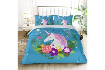 King Single Size My Unicorn Blue Quilt/Doona Cover Set