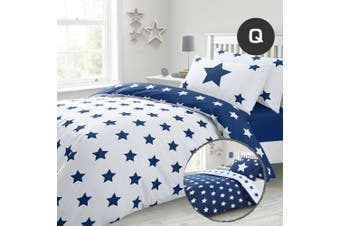 Queen Size Navy Stars Quilt/Doona Cover Set