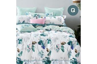 Queen Size Plantain Design Cotton Quilt Cover Set