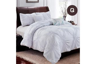 Queen Size Snow Circle Ruched Large Diamond Pintuck Dyed Quilt/Doona Cover Pillowcase Set