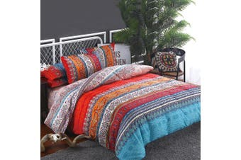 King Single Size Mandala Stripe Quilt/Doona Cover Set
