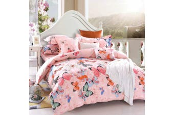 King Size PINK BUTTERFLY Quilt/Doona Cover Set