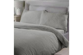 King Single Size Teddy Fleece Soft Warm Quilt Doona Duvet Cover Pillowcase Set Grey
