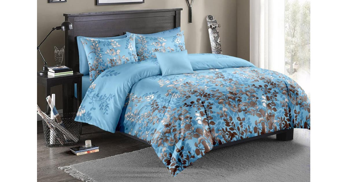 Wood Blue Quilt Doona Duvet Cover Set, Super King Bedding Set Blue