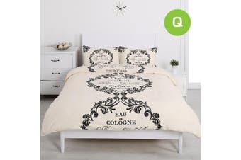 Queen Size Script Paris Cream Design Quilt/Doona Cover Set