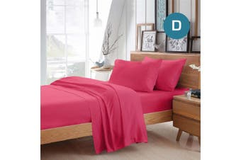 Double Size Hot Pink Color Poly Cotton Fitted Sheet Flat Sheet Pillowcase Sheet Set