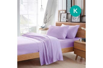 King Size Lilac Color Poly Cotton Fitted Sheet Flat Sheet Pillowcase Sheet Set
