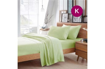 King Size Pistachio Color Poly Cotton Fitted Sheet Flat Sheet Pillowcase Sheet Set