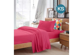 King Single Size Hot Pink Color Poly Cotton Fitted Sheet Flat Sheet Pillowcase Sheet Set