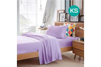 King Single Size Lilac Color Poly Cotton Fitted Sheet Flat Sheet Pillowcase Sheet Set