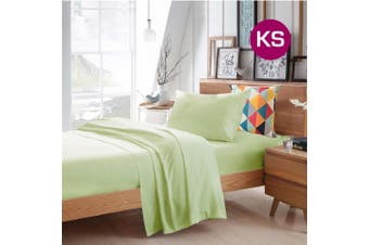 King Single Size Pistachio Color Poly Cotton Fitted Sheet Flat Sheet Pillowcase Sheet Set