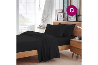 Queen Size Black Color Poly Cotton Fitted Sheet Flat Sheet Pillowcase Sheet Set