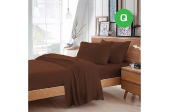 Queen Size Chocolate Color Poly Cotton Fitted Sheet Flat Sheet Pillowcase Sheet Set