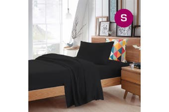 Single Size Black Color Poly Cotton Fitted Sheet Flat Sheet Pillowcase Sheet Set