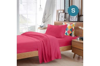 Single Size Hot Pink Color Poly Cotton Fitted Sheet Flat Sheet Pillowcase Sheet Set