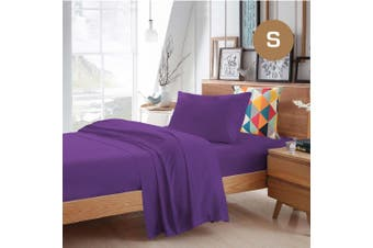 Single Size Purple Color Poly Cotton Fitted Sheet Flat Sheet Pillowcase Sheet Set