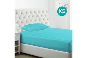 King Single Size Aquamarine 1000TC Silk Silky Feel Satin Fitted Sheet+Pillowcase