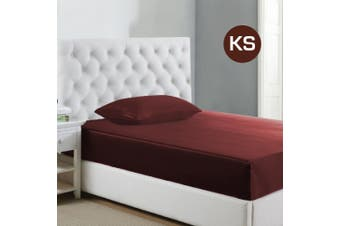 King Single Size Burgundy 1000TC Silk Silky Feel Satin Fitted Sheet+Pillowcase
