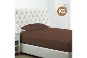 King Single Size Chocolate 1000TC Silk Silky Feel Satin Fitted Sheet+Pillowcase