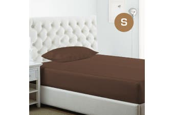 Single Size Chocolate 1000TC Silk Silky Feel Satin Fitted Sheet+Pillowcase