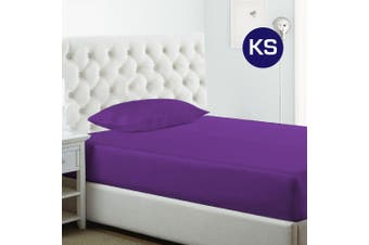 King Single Size Purple 1000TC Silk Silky Feel Satin Fitted Sheet+Pillowcase