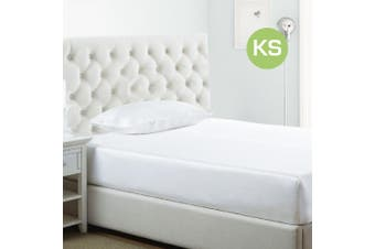 King Single Size White 1000TC Silk Silky Feel Satin Fitted Sheet+Pillowcase