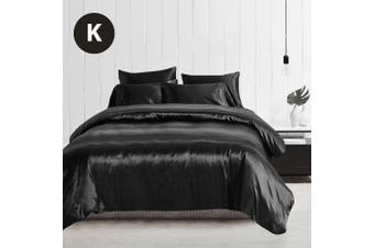 King Size Silky Feel Quilt Cover Set-Black