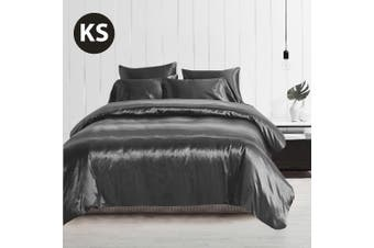 King Single Size Silky Feel Quilt Cover Set-Grey