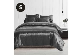 Single Size Silky Feel Quilt Cover Set-Grey