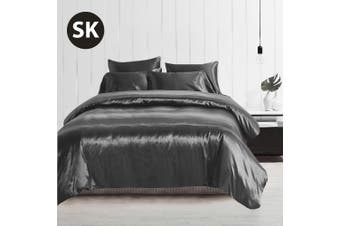 Super King Size Silky Feel Quilt Cover Set-Grey