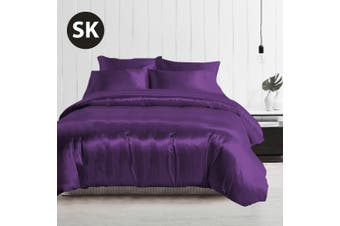 Super King Size Silky Feel Quilt Cover Set-Purple