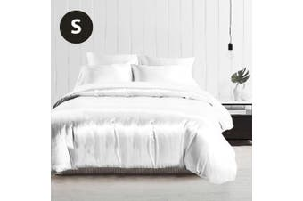 Single Size Silky Feel Quilt Cover Set-White