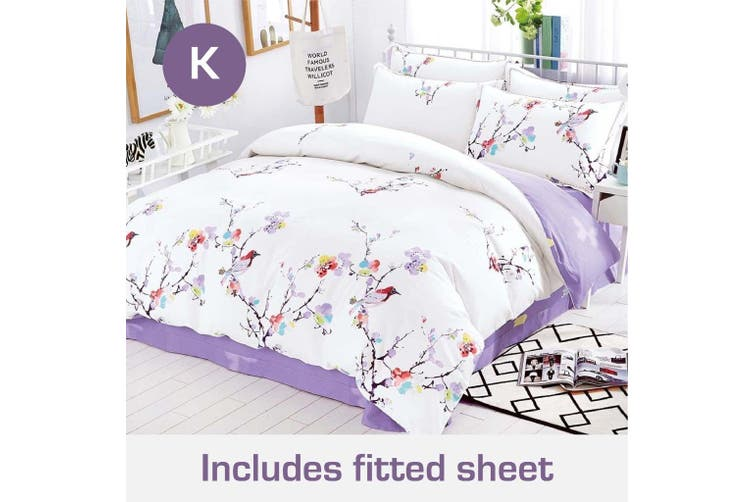 King Size Spring Eva Design Cotton Quilt Cover + Fitted Sheet