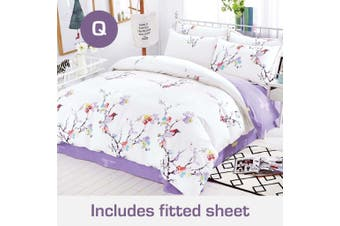 Queen Size Spring Eva Design Cotton Quilt Cover +Fitted Sheet