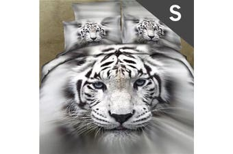 Single Size White Tiger Design Quilt Cover Set