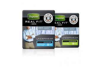 New Depend Realfit Underwear For Men - Large, 1320Ml Carton (4 X 8 Pack)