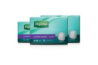 New Depend Super Underwear Unisex - Small-Medium, 1450Ml Carton (12 X 4 Packs)