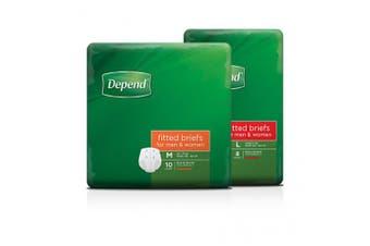 New Depend Normal Fitted Briefs Unisex - Medium, 2300Ml Carton (10 X 4 Packs)