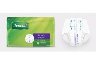 New Depend Super Fitted Briefs Unisex - Medium, 3050Ml Carton (20 X 3 Packs)