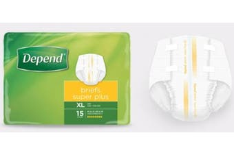New Depend Super Plus Fitted Briefs Unisex - Extra Large, 4300Ml Carton (15 X 4