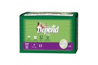 New Depend Super Plus  Flex Pads Unisex - Medium, 2900Ml Carton (14 X 4 Packs)
