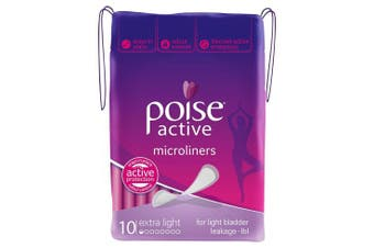 New Poise Active Mircoliners - For Light Bladder Leakage 6 X 10 Pack