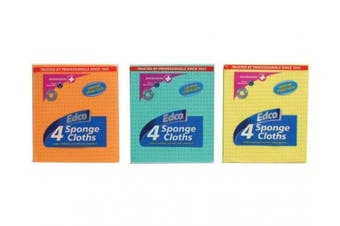 New Edco Cleaning 15913 Anti-Bacterial Sponge Cloth - Assorted Pack (4 Cloths)