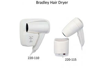 New Bradley 5-Star 220 Dual Heat Hair Dryer Wall Mount - Compact White Abs